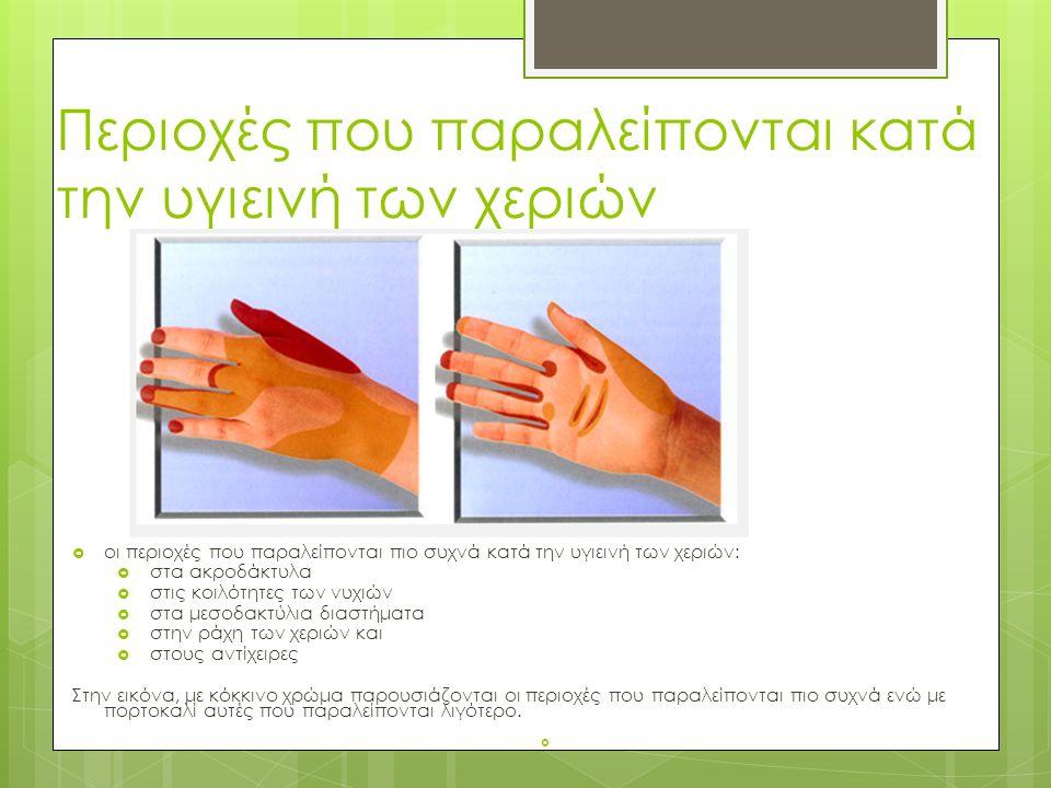 Περιοχές που παραλείπονται κατά την υγιεινή των χεριών  οι περιοχές που παραλείπονται πιο συχνά κατά την υγιεινή των χεριών:  στα ακροδάκτυλα  στις κοιλότητες των νυχιών  στα μεσοδακτύλια διαστήματα  στην ράχη των χεριών και  στους αντίχειρες Στην εικόνα, με κόκκινο χρώμα παρουσιάζονται οι περιοχές που παραλείπονται πιο συχνά ενώ με πορτοκαλί αυτές που παραλείπονται λιγότερο.
