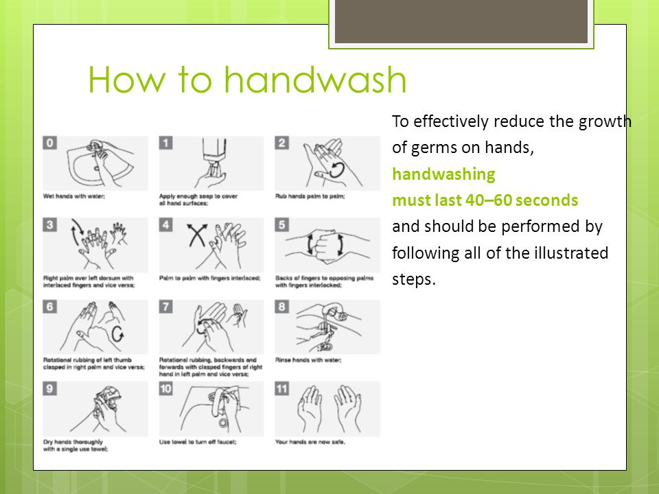 How to handwash To effectively reduce the growth of germs on hands, handwashing must last 40–60 seconds and should be performed by following all of the illustrated steps.