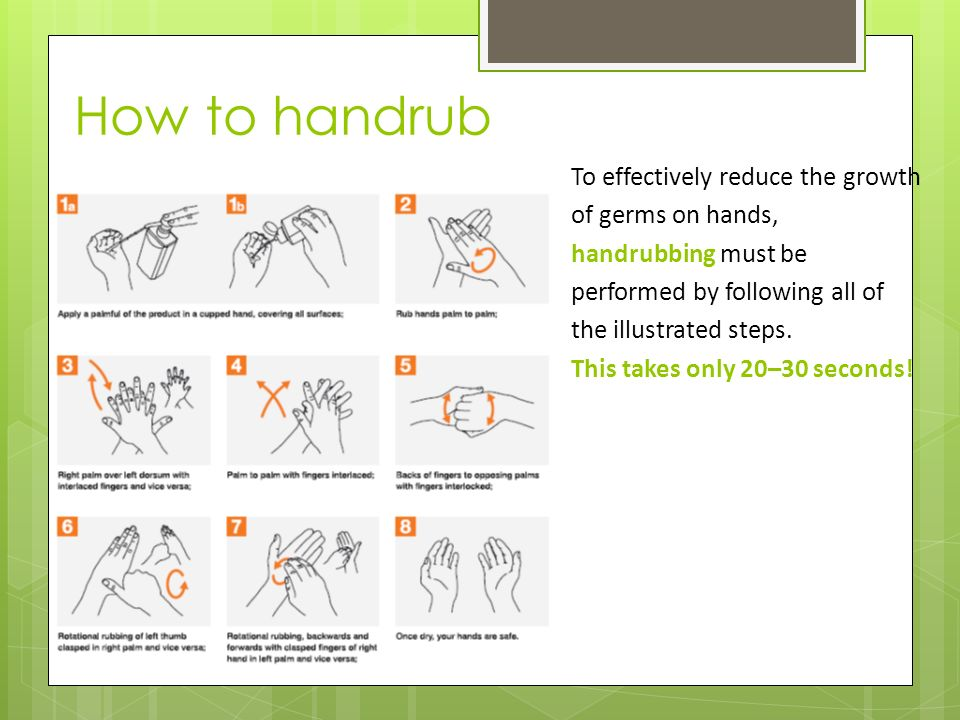 To effectively reduce the growth of germs on hands, handrubbing must be performed by following all of the illustrated steps.