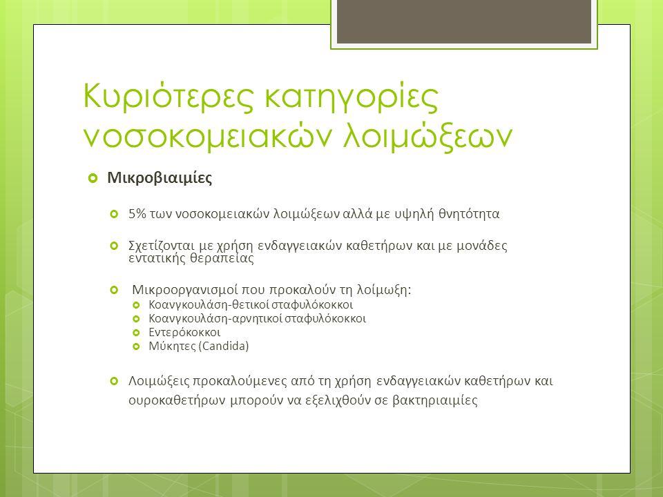 Κυριότερες κατηγορίες νοσοκομειακών λοιμώξεων  Μικροβιαιμίες  5% των νοσοκομειακών λοιμώξεων αλλά με υψηλή θνητότητα  Σχετίζονται με χρήση ενδαγγειακών καθετήρων και με μονάδες εντατικής θεραπείας  Μικροοργανισμοί που προκαλούν τη λοίμωξη:  Κοανγκουλάση-θετικοί σταφυλόκοκκοι  Κοανγκουλάση-αρνητικοί σταφυλόκοκκοι  Εντερόκοκκοι  Μύκητες (Candida)  Λοιμώξεις προκαλούμενες από τη χρήση ενδαγγειακών καθετήρων και ουροκαθετήρων μπορούν να εξελιχθούν σε βακτηριαιμίες