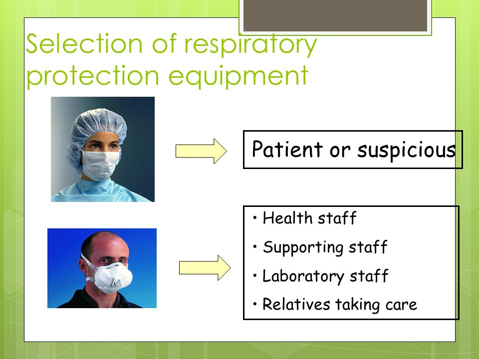 Selection of respiratory protection equipment Patient or suspicious Health staff Supporting staff Laboratory staff Relatives taking care