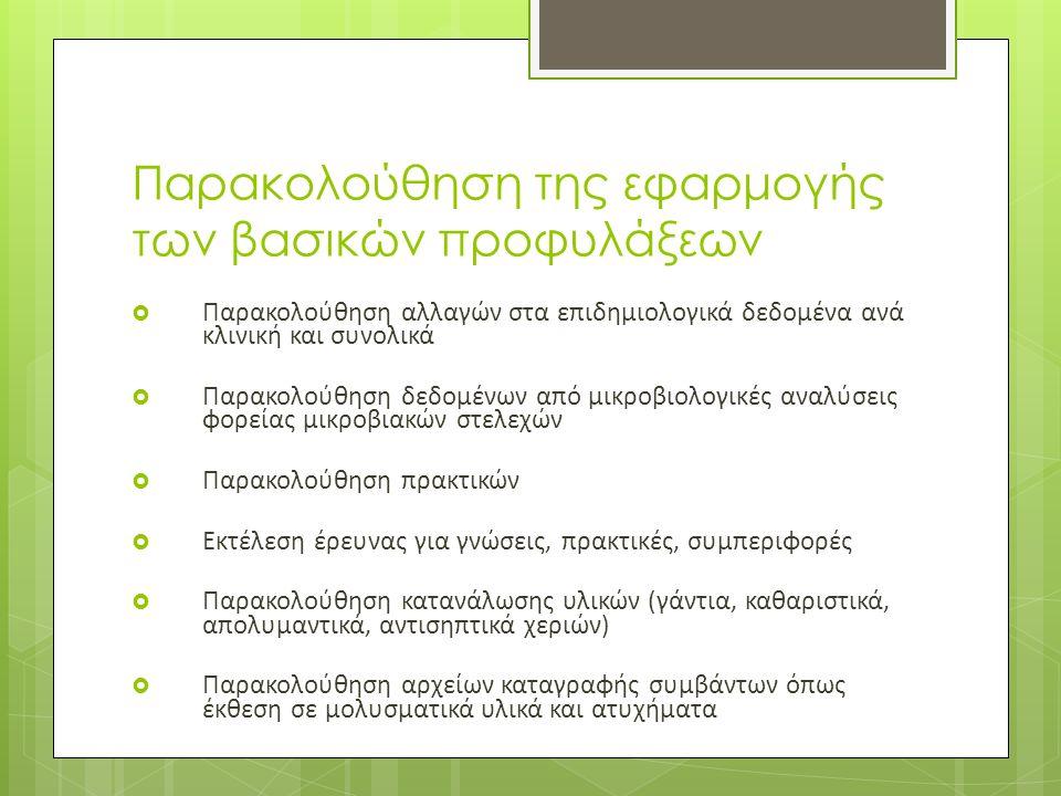  Παρακολούθηση αλλαγών στα επιδημιολογικά δεδομένα ανά κλινική και συνολικά  Παρακολούθηση δεδομένων από μικροβιολογικές αναλύσεις φορείας μικροβιακών στελεχών  Παρακολούθηση πρακτικών  Εκτέλεση έρευνας για γνώσεις, πρακτικές, συμπεριφορές  Παρακολούθηση κατανάλωσης υλικών (γάντια, καθαριστικά, απολυμαντικά, αντισηπτικά χεριών)  Παρακολούθηση αρχείων καταγραφής συμβάντων όπως έκθεση σε μολυσματικά υλικά και ατυχήματα Παρακολούθηση της εφαρμογής των βασικών προφυλάξεων