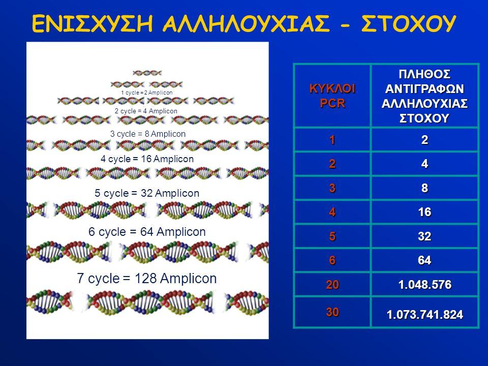 ΕΝΙΣΧΥΣΗ ΑΛΛΗΛΟΥΧΙΑΣ - ΣΤΟΧΟΥ 1 cycle = 2 Amplicon 2 cycle = 4 Amplicon 3 cycle = 8 Amplicon 4 cycle = 16 Amplicon 5 cycle = 32 Amplicon 6 cycle = 64 Amplicon 7 cycle = 128 Amplicon ΚΥΚΛΟΙ PCR ΠΛΗΘΟΣ ΑΝΤΙΓΡΑΦΩΝ ΑΛΛΗΛΟΥΧΙΑΣ ΣΤΟΧΟΥ 12 24 38 416 532 664 20 1.048.576 30 1.073.741.824
