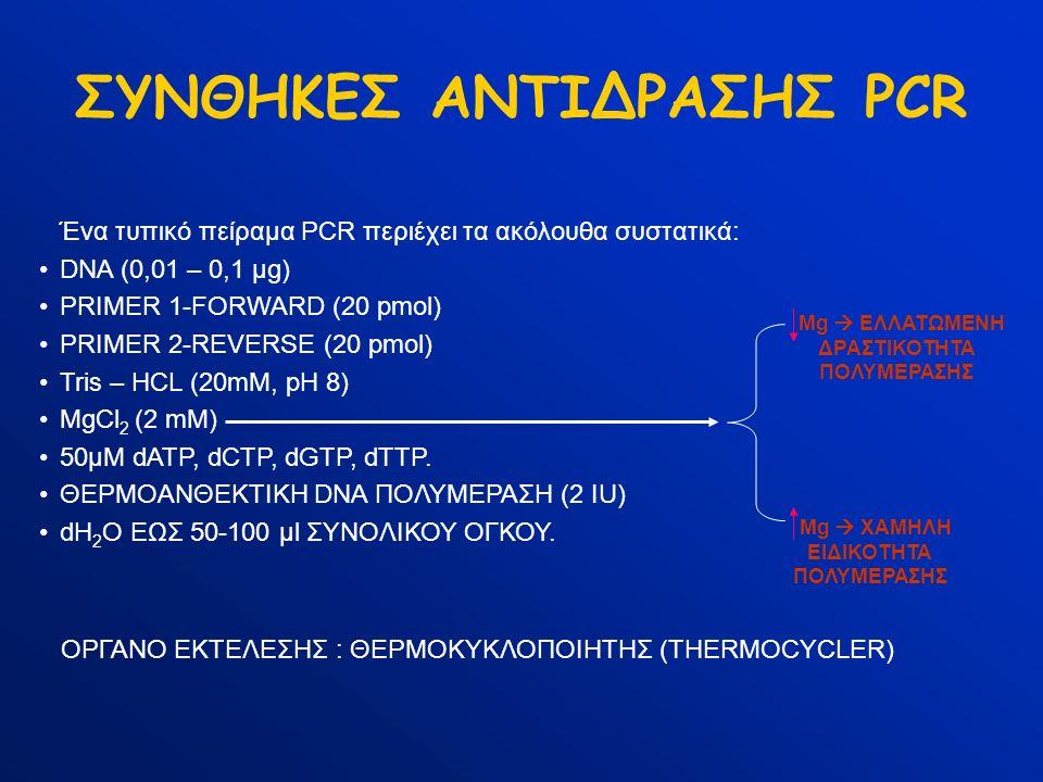 ΣΥΝΘΗΚΕΣ ΑΝΤΙΔΡΑΣΗΣ PCR Ένα τυπικό πείραμα PCR περιέχει τα ακόλουθα συστατικά: DNA (0,01 – 0,1 μg) PRIMER 1-FORWARD (20 pmol) PRIMER 2-REVERSE (20 pmo