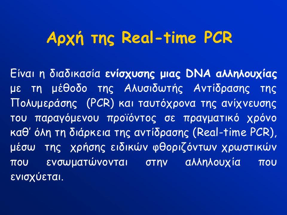 Αρχή της Real-time PCR Είναι η διαδικασία ενίσχυσης μιας DNA αλληλουχίας με τη μέθοδο της Αλυσιδωτής Αντίδρασης της Πολυμεράσης (PCR) και ταυτόχρονα τ