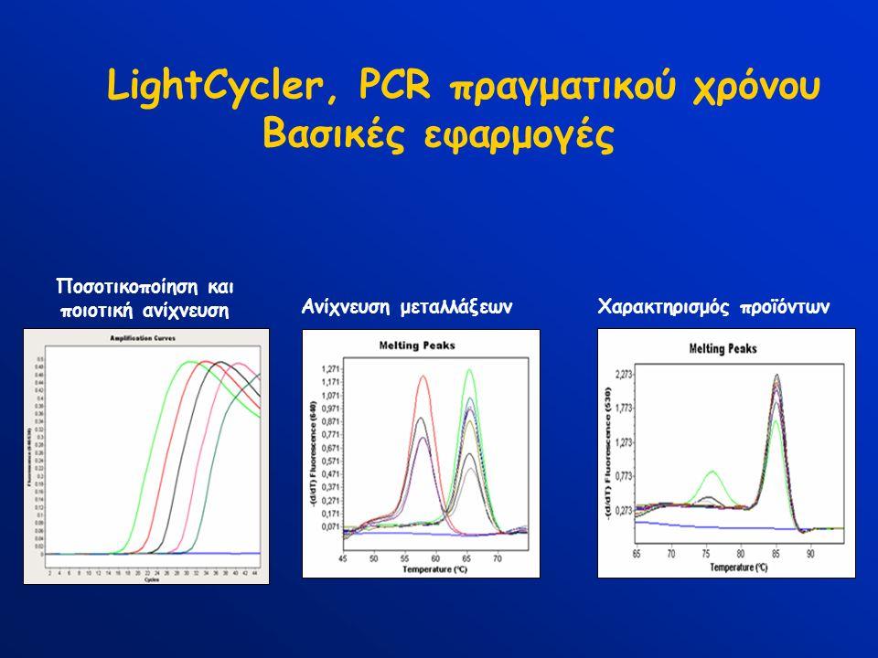 LightCycler, PCR πραγματικού χρόνου Βασικές εφαρμογές Ποσοτικοποίηση και ποιοτική ανίχνευση Χαρακτηρισμός προϊόντωνΑνίχνευση μεταλλάξεων