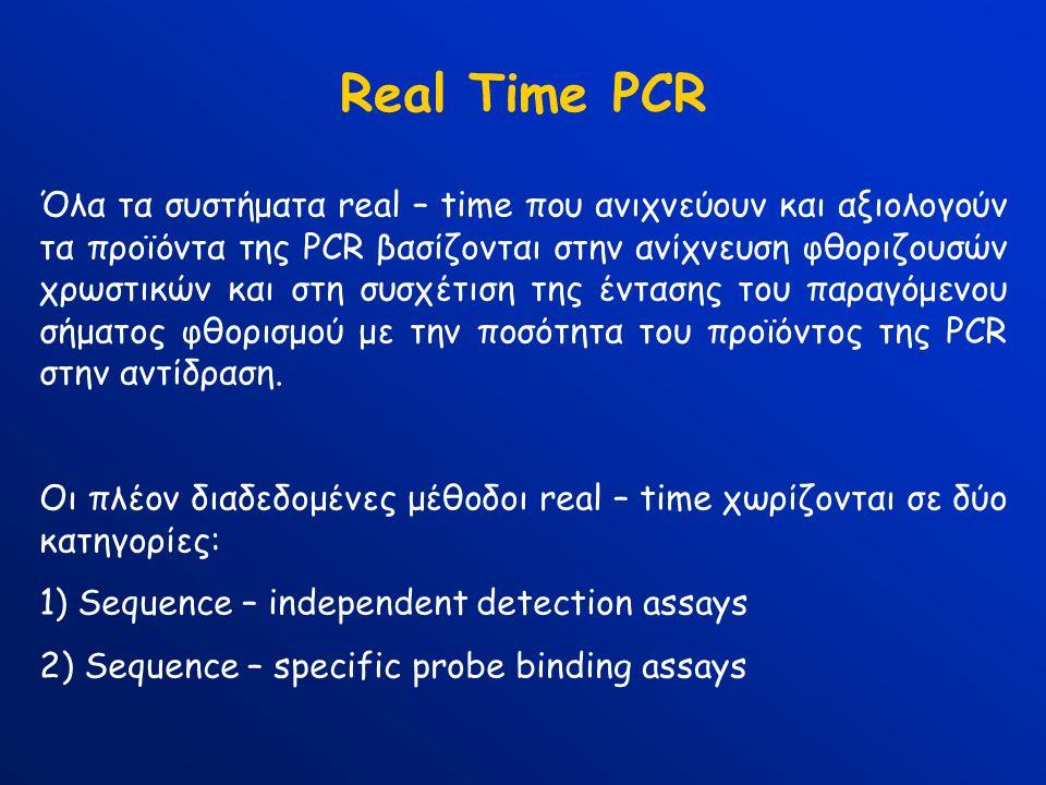 Real Time PCR Όλα τα συστήματα real – time που ανιχνεύουν και αξιολογούν τα προϊόντα της PCR βασίζονται στην ανίχνευση φθοριζουσών χρωστικών και στη συσχέτιση της έντασης του παραγόμενου σήματος φθορισμού με την ποσότητα του προϊόντος της PCR στην αντίδραση.