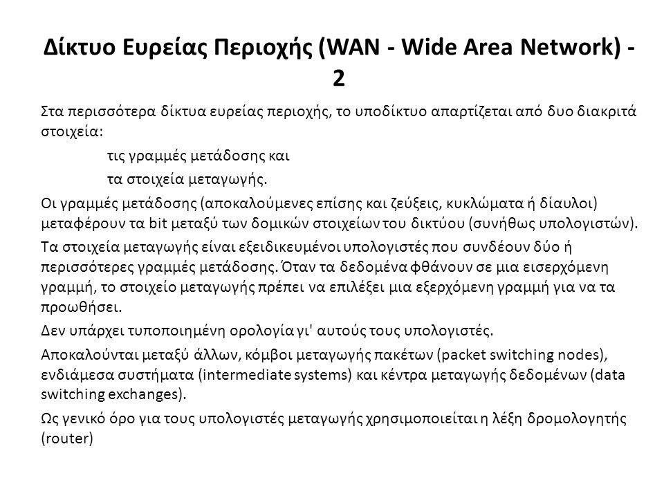 Στα περισσότερα δίκτυα ευρείας περιοχής, το υποδίκτυο απαρτίζεται από δυο διακριτά στοιχεία: τις γραμμές μετάδοσης και τα στοιχεία μεταγωγής.
