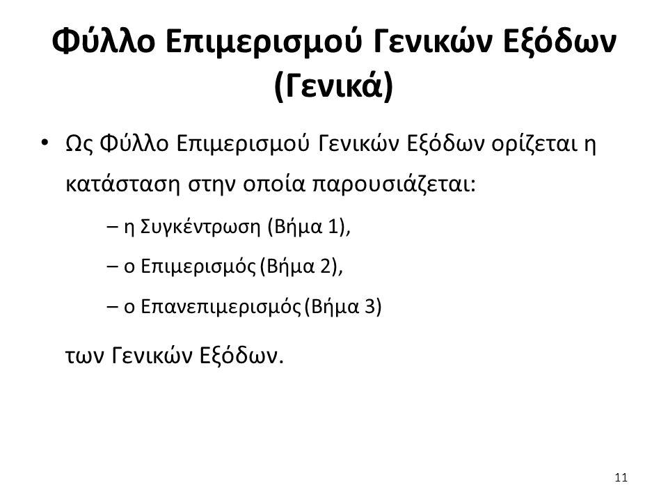 11 Φύλλο Επιμερισμού Γενικών Εξόδων (Γενικά) Ως Φύλλο Επιμερισμού Γενικών Εξόδων ορίζεται η κατάσταση στην οποία παρουσιάζεται: –η Συγκέντρωση (Βήμα 1), –ο Επιμερισμός (Βήμα 2), –ο Επανεπιμερισμός (Βήμα 3) των Γενικών Εξόδων.