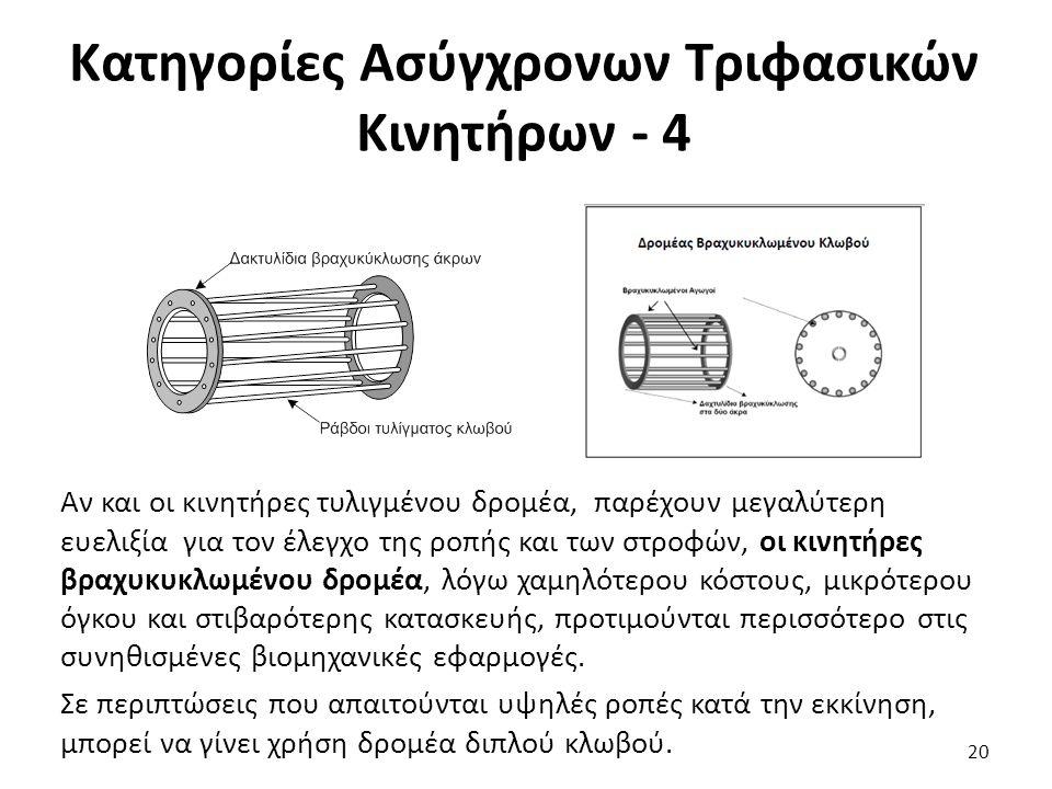 Κατηγορίες Ασύγχρονων Τριφασικών Κινητήρων - 4 Αν και οι κινητήρες τυλιγμένου δρομέα, παρέχουν μεγαλύτερη ευελιξία για τον έλεγχο της ροπής και των στροφών, οι κινητήρες βραχυκυκλωμένου δρομέα, λόγω χαμηλότερου κόστους, μικρότερου όγκου και στιβαρότερης κατασκευής, προτιμούνται περισσότερο στις συνηθισμένες βιομηχανικές εφαρμογές.