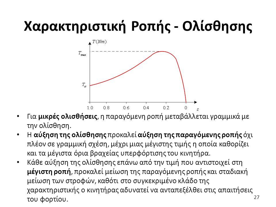 Χαρακτηριστική Ροπής - Ολίσθησης Για μικρές ολισθήσεις, η παραγόμενη ροπή μεταβάλλεται γραμμικά με την ολίσθηση. Η αύξηση της ολίσθησης προκαλεί αύξησ