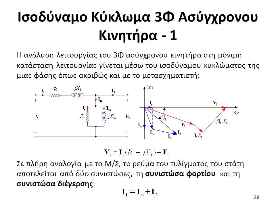 Ισοδύναμο Κύκλωμα 3Φ Ασύγχρονου Κινητήρα - 1 Η ανάλυση λειτουργίας του 3Φ ασύγχρονου κινητήρα στη μόνιμη κατάσταση λειτουργίας γίνεται μέσω του ισοδύν
