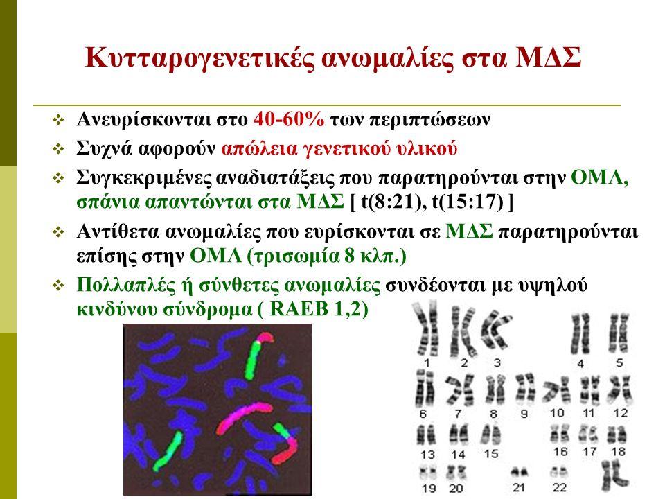 Κυτταρογενετικές ανωμαλίες στα ΜΔΣ  Ανευρίσκονται στο 40-60% των περιπτώσεων  Συχνά αφορούν απώλεια γενετικού υλικού  Συγκεκριμένες αναδιατάξεις πο