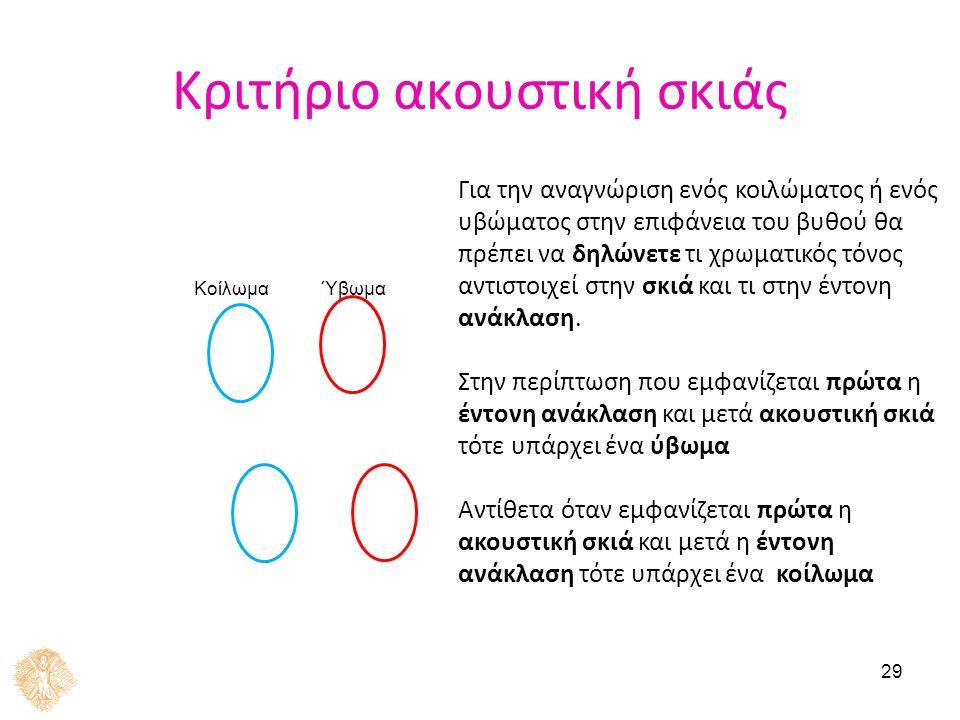 29 Κριτήριο ακουστική σκιάς ΎβωμαΚοίλωμα Για την αναγνώριση ενός κοιλώματος ή ενός υβώματος στην επιφάνεια του βυθού θα πρέπει να δηλώνετε τι χρωματικ