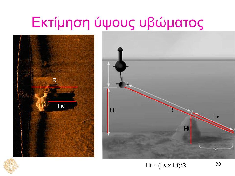 30 Εκτίμηση ύψους υβώματος Hf Ht Ls R Ht = (Ls x Hf)/R R Ls