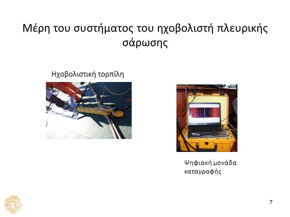 7 Μέρη του συστήματος του ηχοβολιστή πλευρικής σάρωσης 1 Ηχοβολιστική τορπίλη Ψηφιακή μονάδα καταγραφής