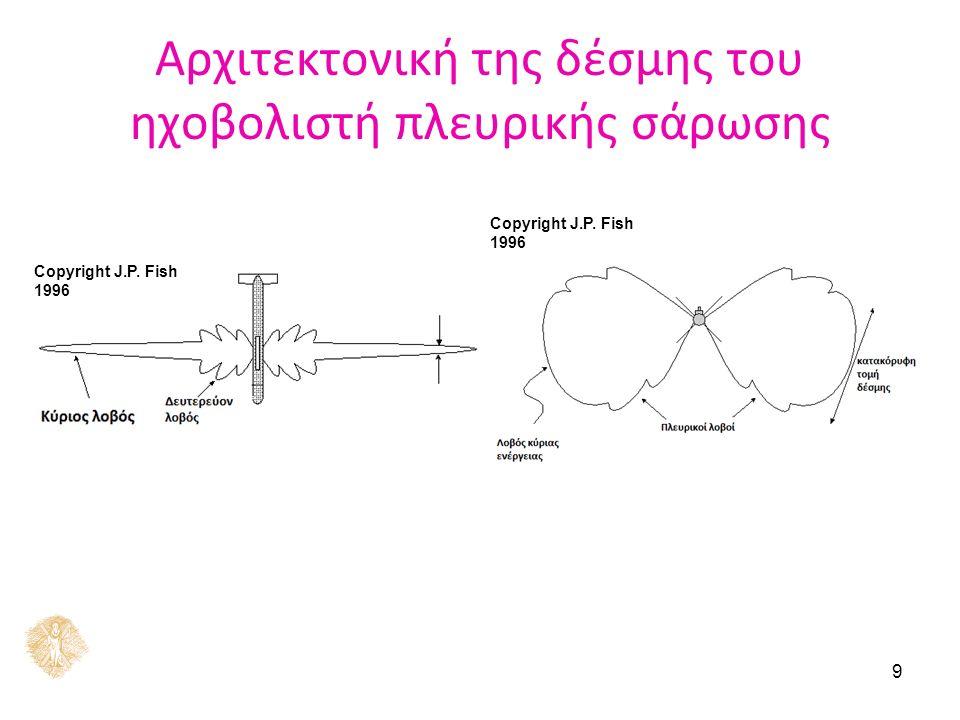 9 Αρχιτεκτονική της δέσμης του ηχοβολιστή πλευρικής σάρωσης Copyright J.P. Fish 1996