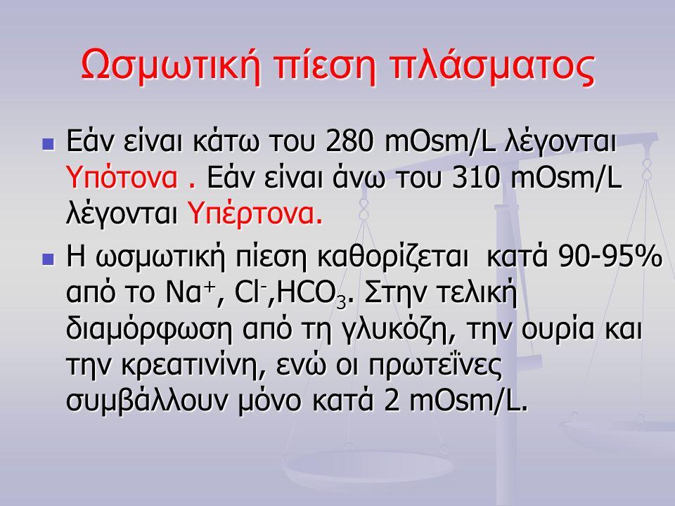 Ωσμωτική πίεση πλάσματος Εάν είναι κάτω του 280 mOsm/L λέγονται Υπότονα. Εάν είναι άνω του 310 mOsm/L λέγονται Υπέρτονα. Εάν είναι κάτω του 280 mOsm/L