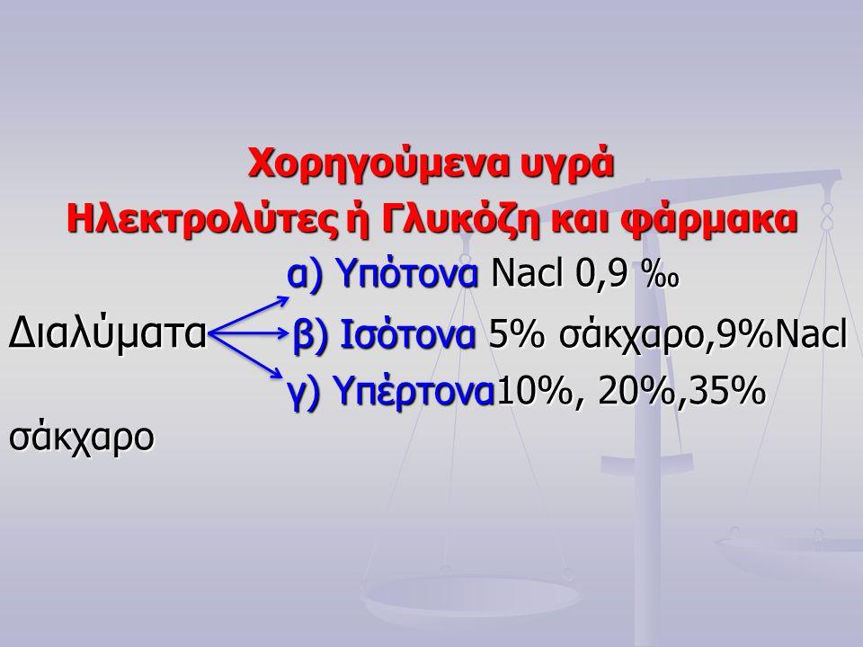Χορηγούμενα υγρά Ηλεκτρολύτες ή Γλυκόζη και φάρμακα α) Υπότονα Nacl 0,9 ‰ α) Υπότονα Nacl 0,9 ‰ Διαλύματα β) Ισότονα 5% σάκχαρο,9%Nacl γ) Υπέρτονα10%, 20%,35% σάκχαρο γ) Υπέρτονα10%, 20%,35% σάκχαρο