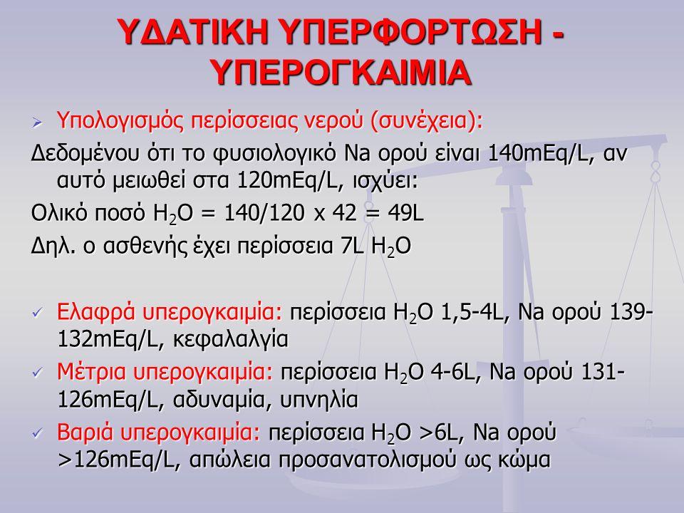 ΥΔΑΤΙΚΗ ΥΠΕΡΦΟΡΤΩΣΗ - ΥΠΕΡΟΓΚΑΙΜΙΑ  Υπολογισμός περίσσειας νερού (συνέχεια): Δεδομένου ότι το φυσιολογικό Na ορού είναι 140mEq/L, αν αυτό μειωθεί στα 120mEq/L, ισχύει: Ολικό ποσό H 2 O = 140/120 x 42 = 49L Δηλ.