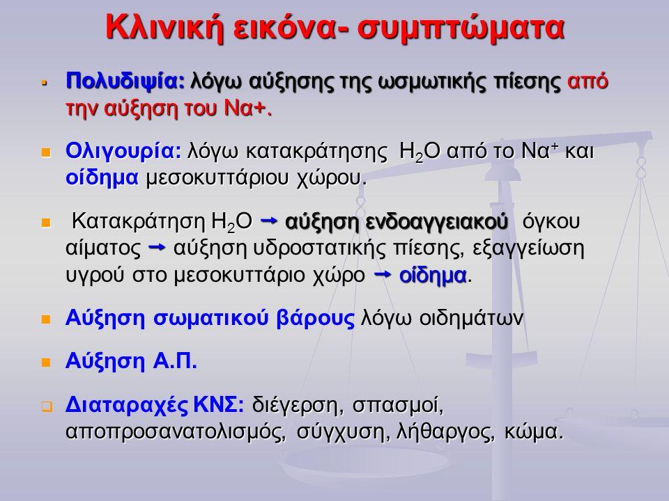Κλινική εικόνα- συμπτώματα  Πολυδιψία: λόγω αύξησης της ωσμωτικής πίεσης από την αύξηση του Να+. Ολιγουρία: λόγω κατακράτησης Η 2 Ο από το Να + και ο