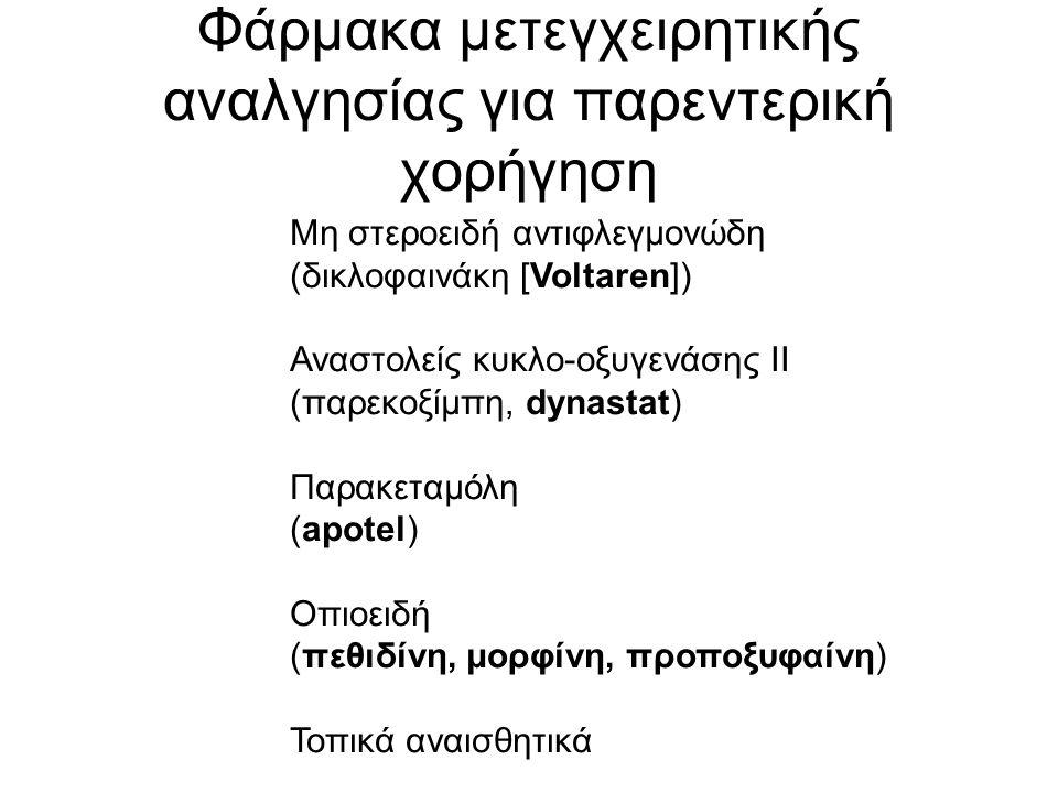 Φάρμακα μετεγχειρητικής αναλγησίας για παρεντερική χορήγηση Μη στεροειδή αντιφλεγμονώδη (δικλοφαινάκη [Voltaren]) Αναστολείς κυκλο-οξυγενάσης ΙΙ (παρεκοξίμπη, dynastat) Παρακεταμόλη (apotel) Οπιοειδή (πεθιδίνη, μορφίνη, προποξυφαίνη) Τοπικά αναισθητικά