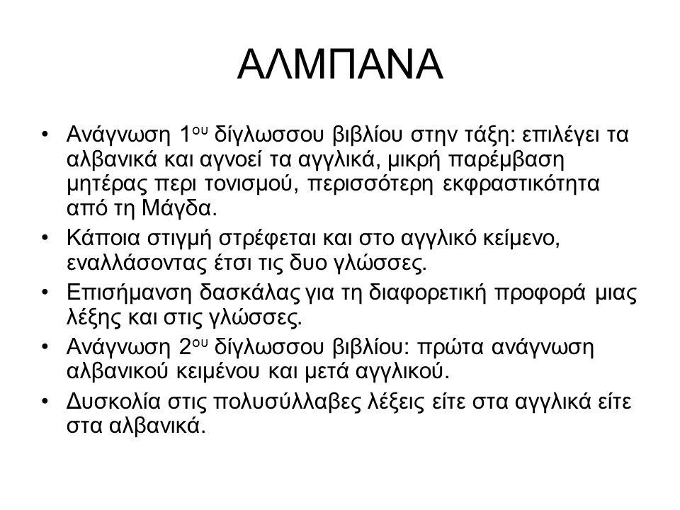 ΑΛΜΠΑΝΑ Ανάγνωση 1 ου δίγλωσσου βιβλίου στην τάξη: επιλέγει τα αλβανικά και αγνοεί τα αγγλικά, μικρή παρέμβαση μητέρας περι τονισμού, περισσότερη εκφραστικότητα από τη Μάγδα.