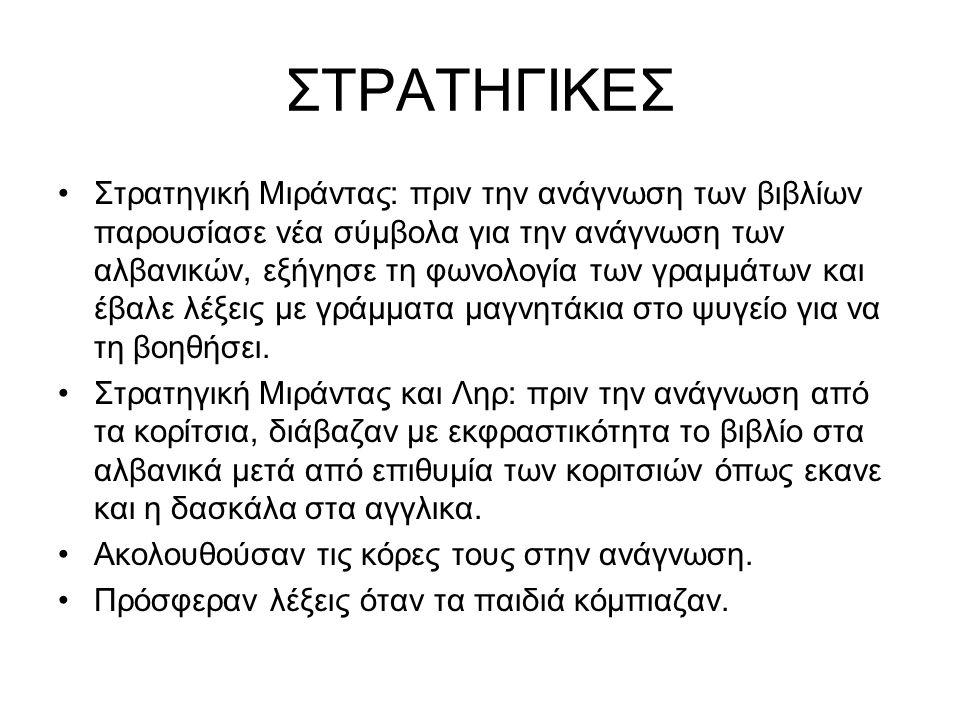 ΣΤΡΑΤΗΓΙΚΕΣ Στρατηγική Μιράντας: πριν την ανάγνωση των βιβλίων παρουσίασε νέα σύμβολα για την ανάγνωση των αλβανικών, εξήγησε τη φωνολογία των γραμμάτων και έβαλε λέξεις με γράμματα μαγνητάκια στο ψυγείο για να τη βοηθήσει.