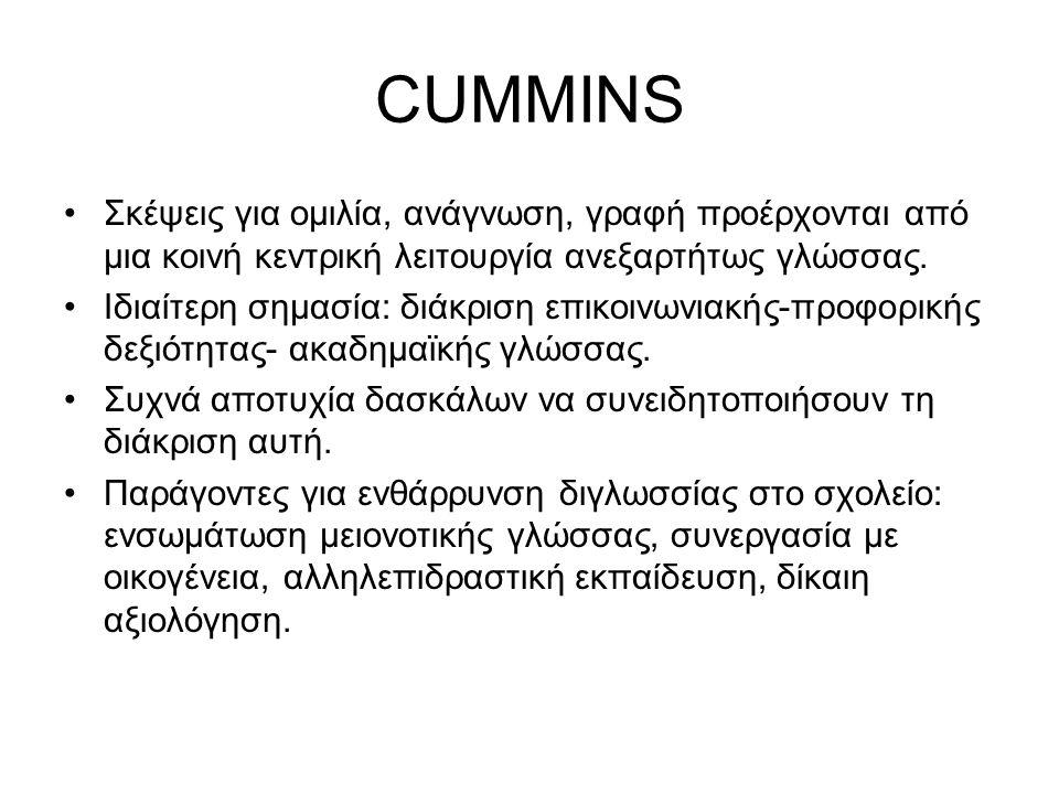 CUMMINS Σκέψεις για ομιλία, ανάγνωση, γραφή προέρχονται από μια κοινή κεντρική λειτουργία ανεξαρτήτως γλώσσας.