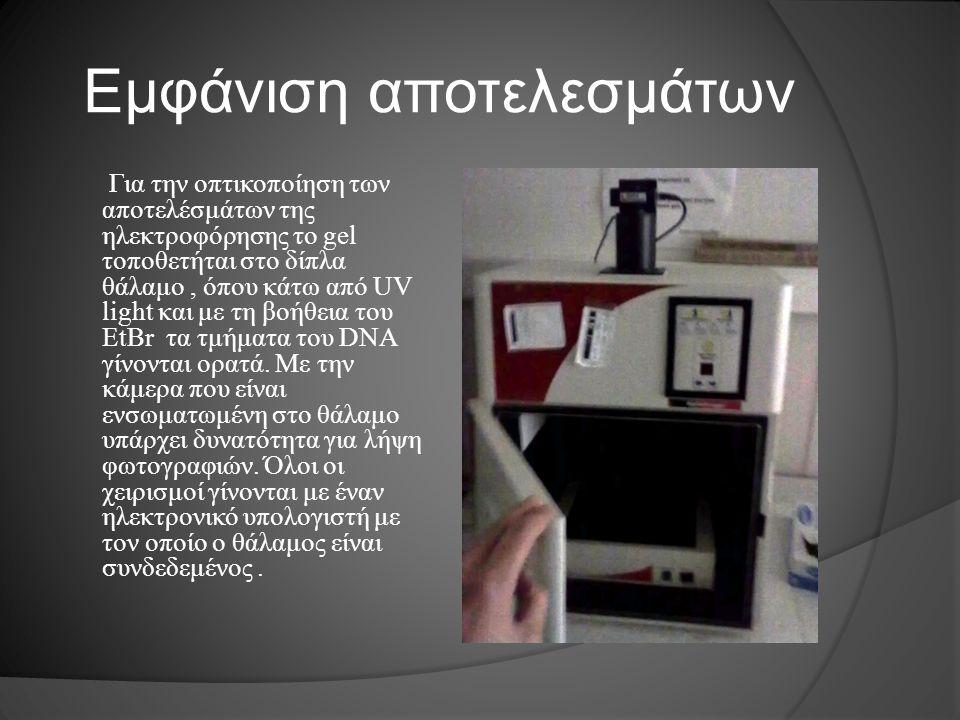 Εμφάνιση αποτελεσμάτων Για την οπτικοποίηση των αποτελέσμάτων της ηλεκτροφόρησης το gel τοποθετήται στο δίπλα θάλαμο, όπου κάτω από UV light και με τη