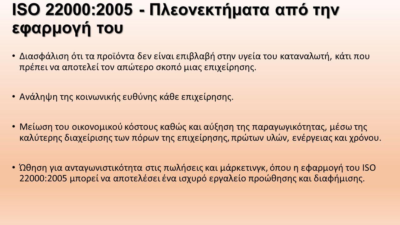 ISO 22000:2005 - Πλεονεκτήματα από την εφαρμογή του Διασφάλιση ότι τα προϊόντα δεν είναι επιβλαβή στην υγεία του καταναλωτή, κάτι που πρέπει να αποτελ