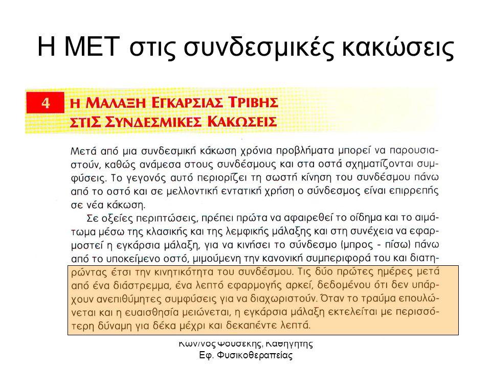 Kων/νος Φουσέκης, Καθηγητής Εφ. Φυσικοθεραπείας Η ΜΕΤ στις συνδεσμικές κακώσεις