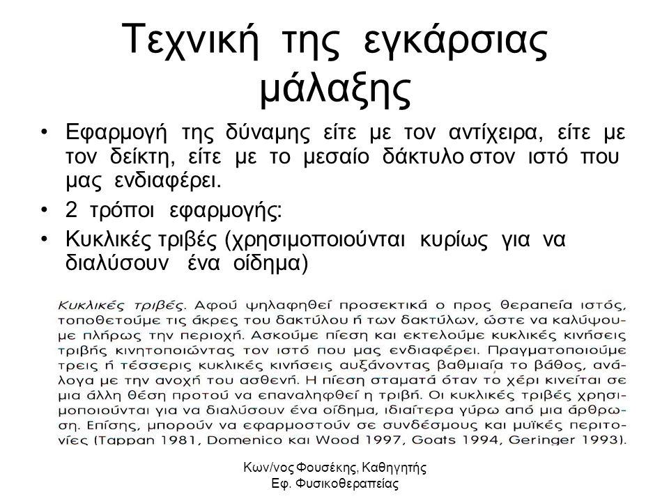 Kων/νος Φουσέκης, Καθηγητής Εφ. Φυσικοθεραπείας Τεχνική της εγκάρσιας μάλαξης Εφαρμογή της δύναμης είτε με τον αντίχειρα, είτε με τον δείκτη, είτε με