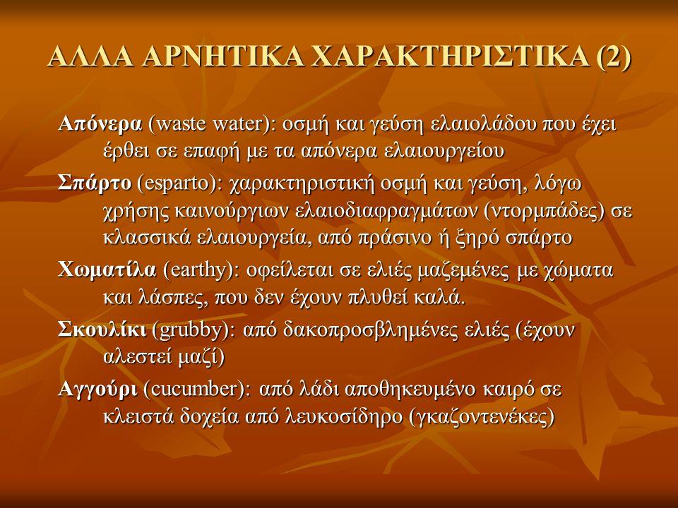 ΑΛΛΑ ΑΡΝΗΤΙΚΑ ΧΑΡΑΚΤΗΡΙΣΤΙΚΑ (2) Απόνερα (waste water): οσμή και γεύση ελαιολάδου που έχει έρθει σε επαφή με τα απόνερα ελαιουργείου Σπάρτο (esparto):