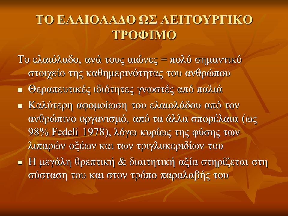 ΤΟ ΕΛΑΙΟΛΑΔΟ ΩΣ ΛΕΙΤΟΥΡΓΙΚΟ ΤΡΟΦΙΜΟ Το ελαιόλαδο, ανά τους αιώνες = πολύ σημαντικό στοιχείο της καθημερινότητας του ανθρώπου Θεραπευτικές ιδιότητες γνωστές από παλιά Θεραπευτικές ιδιότητες γνωστές από παλιά Καλύτερη αφομοίωση του ελαιολάδου από τον ανθρώπινο οργανισμό, από τα άλλα σπορέλαια (ως 98% Fedeli 1978), λόγω κυρίως της φύσης των λιπαρών οξέων και των τριγλυκεριδίων του Καλύτερη αφομοίωση του ελαιολάδου από τον ανθρώπινο οργανισμό, από τα άλλα σπορέλαια (ως 98% Fedeli 1978), λόγω κυρίως της φύσης των λιπαρών οξέων και των τριγλυκεριδίων του Η μεγάλη θρεπτική & διαιτητική αξία στηρίζεται στη σύσταση του και στον τρόπο παραλαβής του Η μεγάλη θρεπτική & διαιτητική αξία στηρίζεται στη σύσταση του και στον τρόπο παραλαβής του