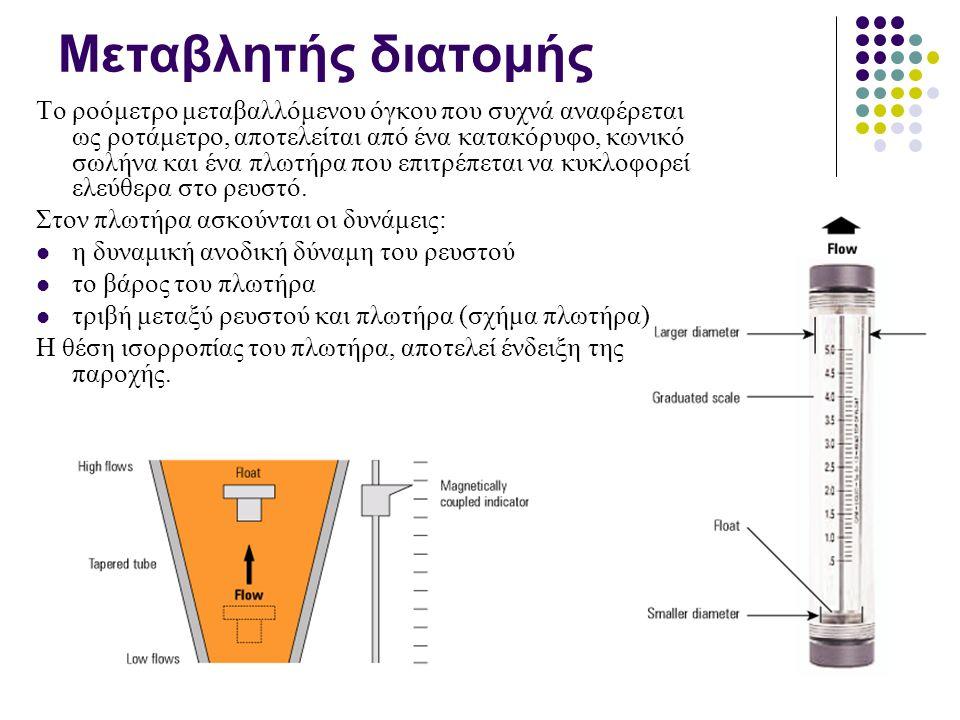 Μεταβλητής διατομής Το ροόμετρο μεταβαλλόμενου όγκου που συχνά αναφέρεται ως ροτάμετρο, αποτελείται από ένα κατακόρυφο, κωνικό σωλήνα και ένα πλωτήρα που επιτρέπεται να κυκλοφορεί ελεύθερα στο ρευστό.