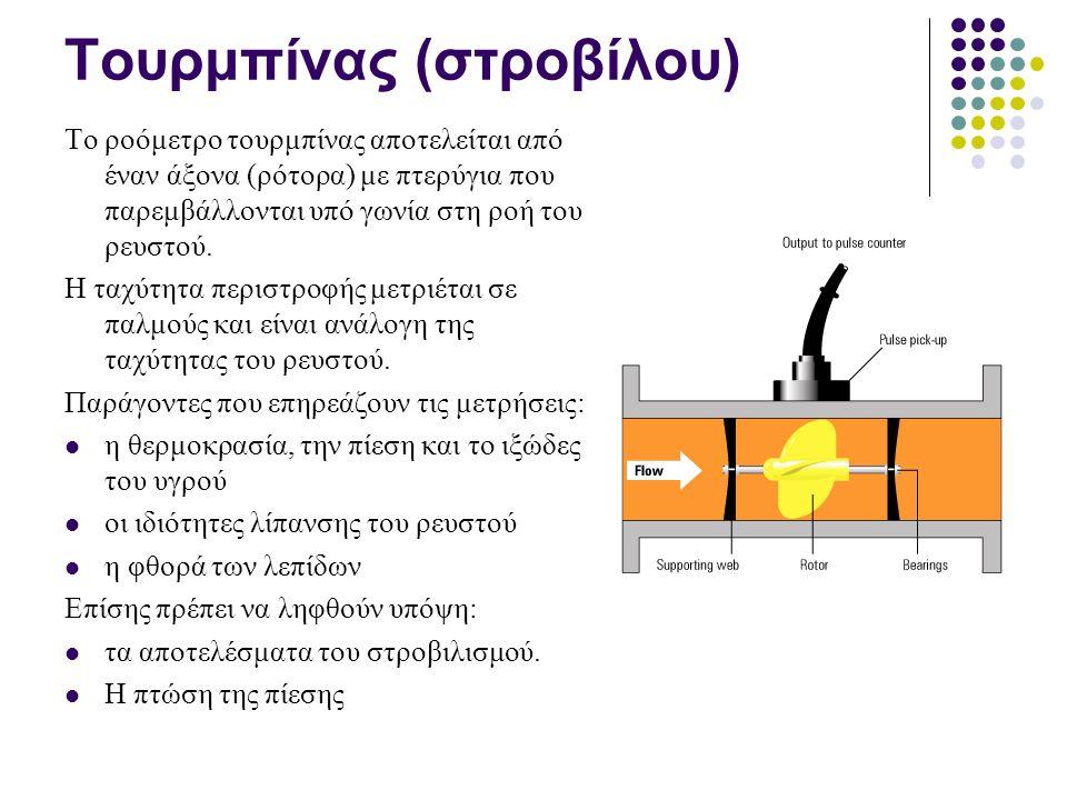 Τουρμπίνας (στροβίλου) Το ροόμετρο τουρμπίνας αποτελείται από έναν άξονα (ρότορα) με πτερύγια που παρεμβάλλονται υπό γωνία στη ροή του ρευστού.