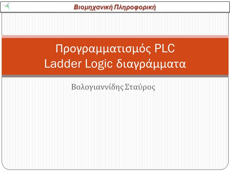Βιομηχανική Πληροφορική Σύστημα ασφαλείας αυτοκινήτου 22 Να φτιαχθεί ένα ladder logic διάγραμμα με τις ακόλουθες προδιαγραφές Όταν η πόρτα του αυτοκινήτου είναι ανοιχτή και η ζώνες ασφαλείας είναι « πάνω » η τάση (D) για το ξεκίνημα του κινητήρα δεν πρέπει να εφαρμοστεί
