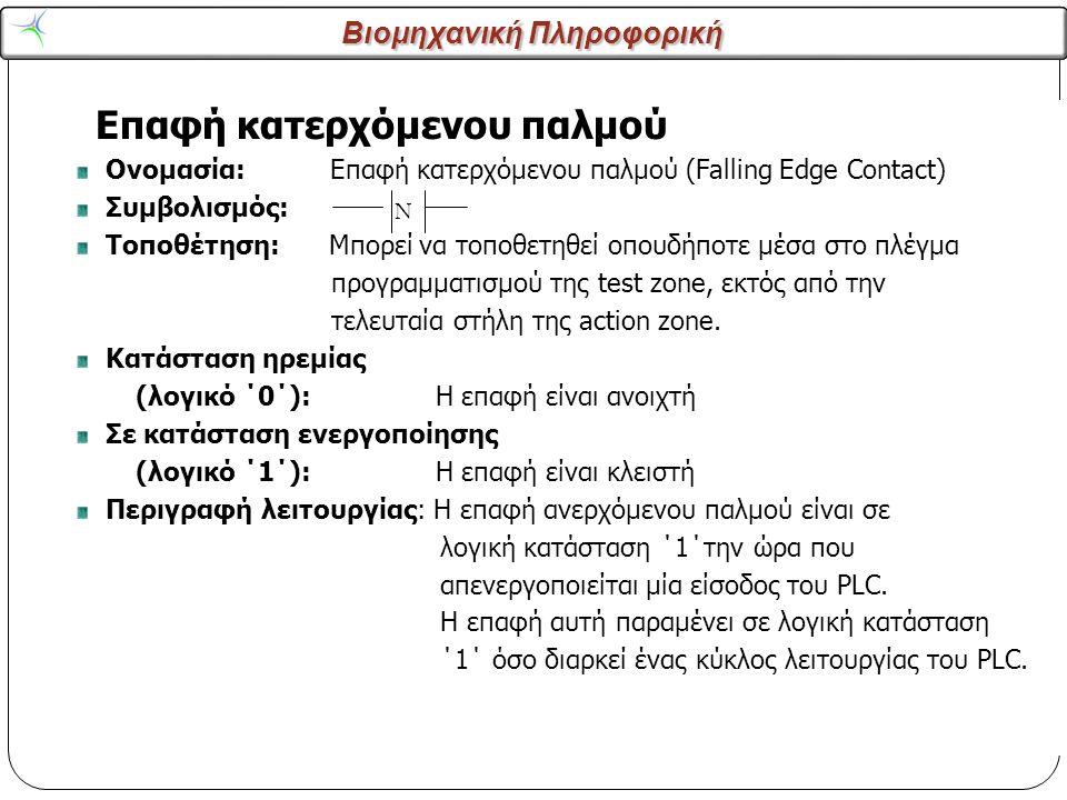 Βιομηχανική Πληροφορική 11 Επαφή κατερχόμενου παλμού Ονομασία: Επαφή κατερχόμενου παλμού (Falling Edge Contact) Συμβολισμός: Τοποθέτηση: Μπορεί να τοπ