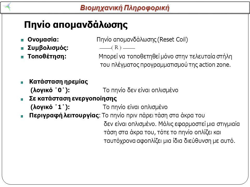 Βιομηχανική Πληροφορική Πηνίο απομανδάλωσης 14 Ονομασία: Πηνίο απομανδάλωσης (Reset Coil) Συμβολισμός: Τοποθέτηση: Μπορεί να τοποθετηθεί μόνο στην τελ