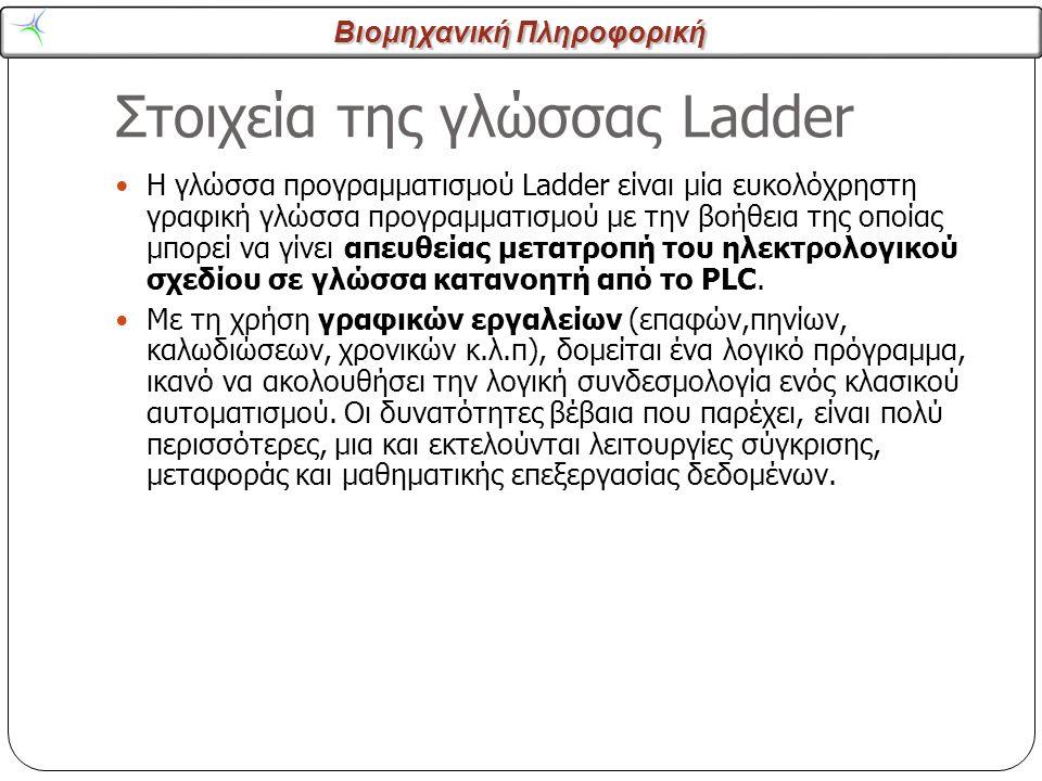 Βιομηχανική Πληροφορική Στοιχεία της γλώσσας Ladder 2 Η γλώσσα προγραμματισμού Ladder είναι μία ευκολόχρηστη γραφική γλώσσα προγραμματισμού με την βοή