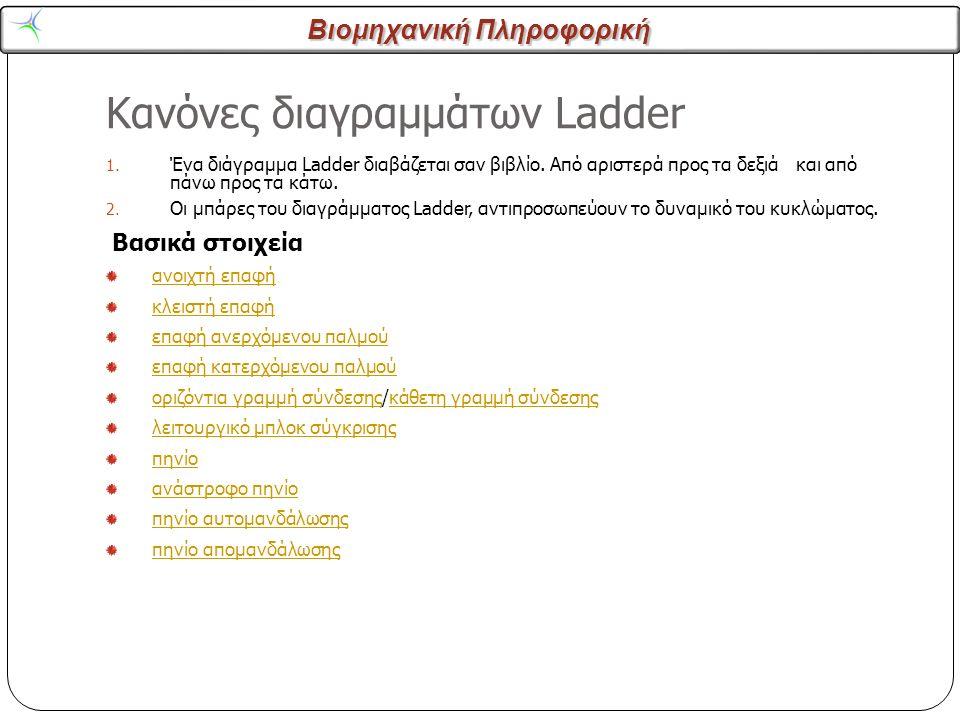 Βιομηχανική Πληροφορική Κανόνες διαγραμμάτων Ladder 5 1. Ένα διάγραμμα Ladder διαβάζεται σαν βιβλίο. Από αριστερά προς τα δεξιά και από πάνω προς τα κ