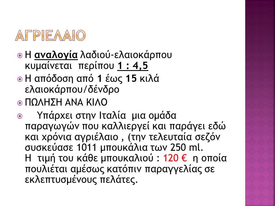  Η αναλογία λαδιού-ελαιοκάρπου κυμαίνεται περίπου 1 : 4,5  Η απόδοση από 1 έως 15 κιλά ελαιοκάρπου/δένδρο  ΠΩΛΗΣΗ ΑΝΑ ΚΙΛΟ  Υπάρχει στην Ιταλία μι