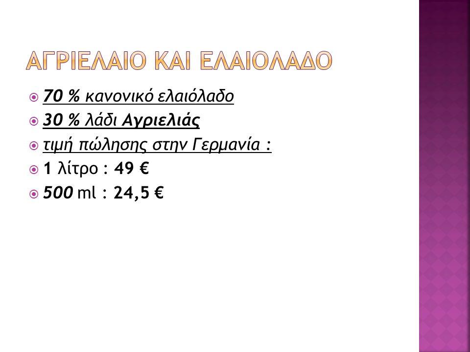  70 % κανονικό ελαιόλαδο  30 % λάδι Αγριελιάς  τιμή πώλησης στην Γερμανία :  1 λίτρο : 49 €  500 ml : 24,5 €