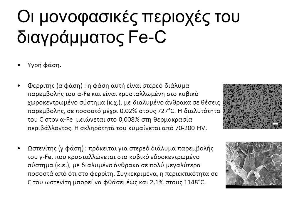 Οι μονοφασικές περιοχές του διαγράμματος Fe-C Υγρή φάση.