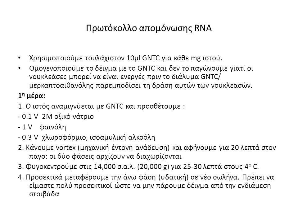 Πρωτόκολλο απομόνωσης RNA Χρησιμοποιούμε τουλάχιστον 10μl GNTC για κάθε mg ιστού. Ομογενοποιούμε το δέιγμα με το GNTC και δεν το παγώνουμε γιατί οι νο