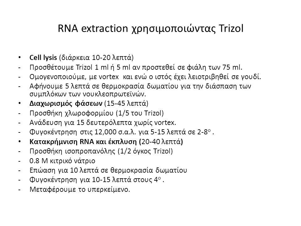 RΝΑ extraction χρησιμοποιώντας Trizol Πλύσεις του RNA (15-30 λεπτά) -Πλύση του ιζηματος με 70 % αιθανόλη -Φυγοκέντρηση μέγιστη ταχύτητα, γι 2-10 λεπτά στους 4 ο.