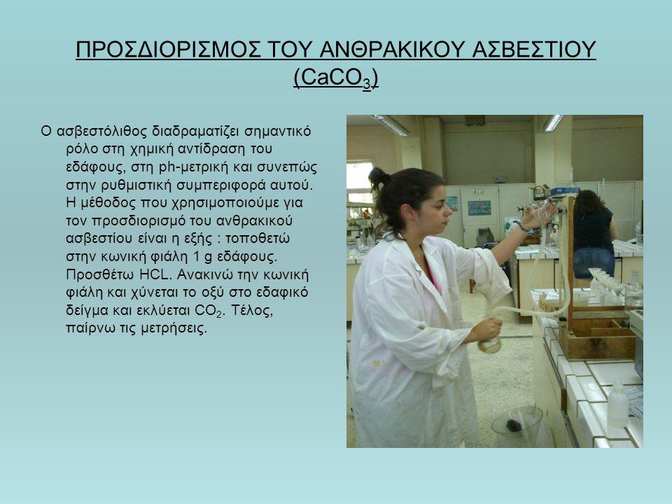 ΠΡΟΣΔΙΟΡΙΣΜΟΣ ΤΟΥ ΑΝΘΡΑΚΙΚΟΥ ΑΣΒΕΣΤΙΟΥ (CaCO 3 ) Ο ασβεστόλιθος διαδραματίζει σημαντικό ρόλο στη χημική αντίδραση του εδάφους, στη ph-μετρική και συνεπώς στην ρυθμιστική συμπεριφορά αυτού.