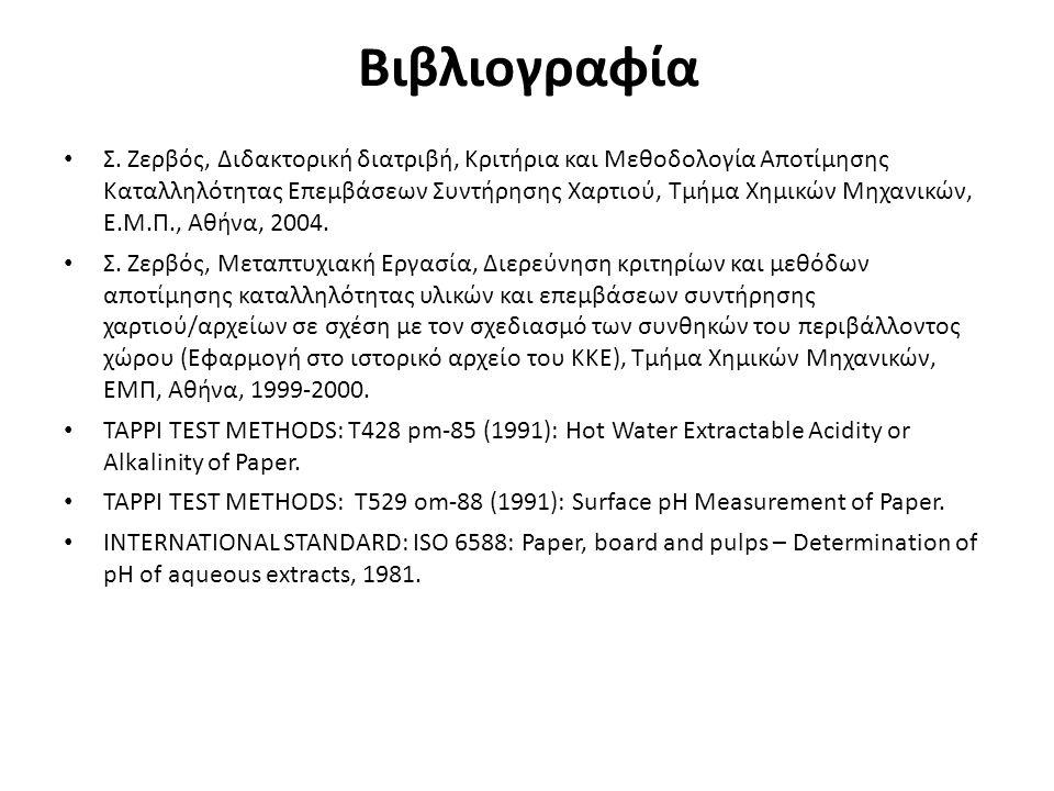 Βιβλιογραφία Σ. Ζερβός, Διδακτορική διατριβή, Κριτήρια και Μεθοδολογία Αποτίμησης Καταλληλότητας Επεμβάσεων Συντήρησης Χαρτιού, Τμήμα Χημικών Μηχανικώ