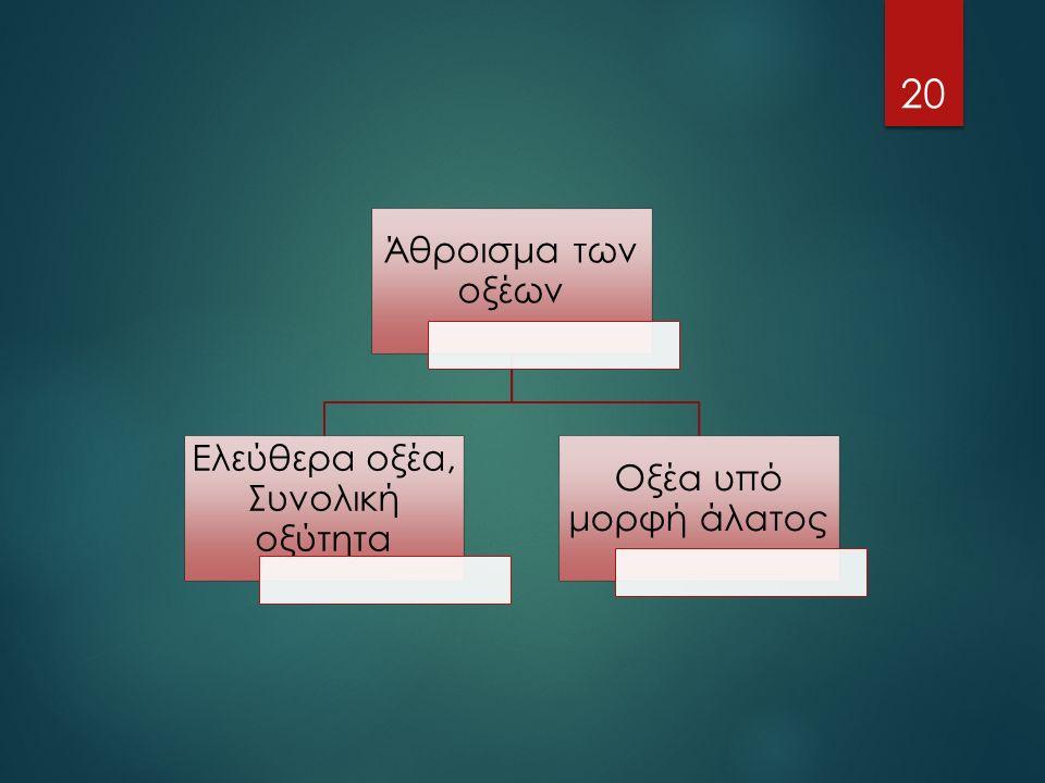 Άθροισμα των οξέων Ελεύθερα οξέα, Συνολική οξύτητα Οξέα υπό μορφή άλατος 20